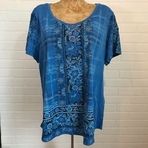 NWT Style & Co Short Sleeve Plus Top Sz 1X Floral